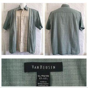 Van Heusen Shirt 50's Retro Taupe/Teal Sz XL
